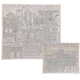 Afikoman Cover - Hand Embroidered - Jerusalem Silver