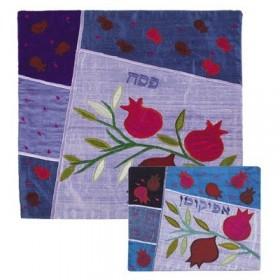 Afikoman Cover - Raw Silk Applique`d - Pomegrantes Blue