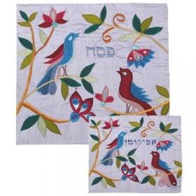 Afikoman Cover - Raw Silk Applique`d - Birds Blue