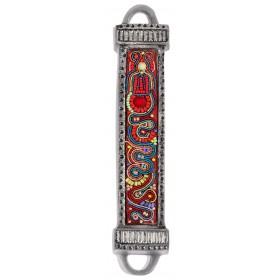 Mezuzah Metal + Embroidery - Multicolor