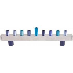 Hanukkah Menorah - Strip + Hammer Work - Blue