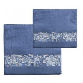Tfillin Bag - Matches Traditional Tallit - Jerusalem - Blue + Gray