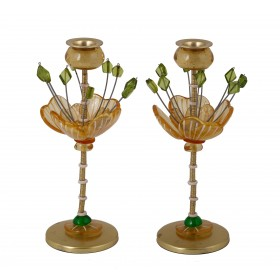 Candlesticks - Polyester - Flower Yellow/ Green 25 CM