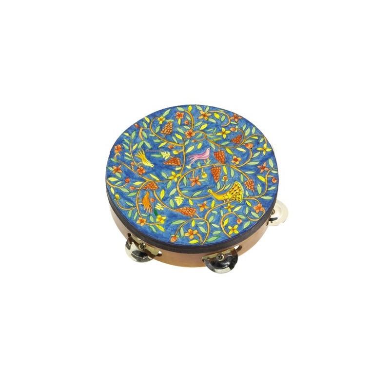 Tambourine - Hand Painted on Genuine Leather - Oriental