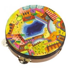 Tambourine - Hand Painted on Genuine Leather - Jerusalem