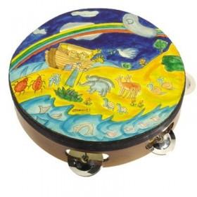 Tambourin - Peint à la main sur cuir véritable - Arche de Noé