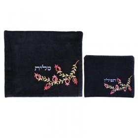 Tfilin Bag - Velvet Embroidered - Pomegranate