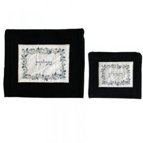 Tfilin Bag - Velvet + Embroidered Applique - Pomegranate- Blue