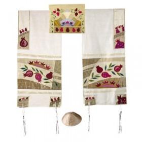 Tfillin Bag - Machine Embroidery - Pomegranates - White