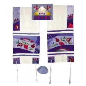 Tfillin Bag - Machine Embroidery - Pomegranates - Blue