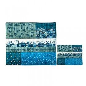 Tfilin Bag - Embroidery + Patches - Jerusalem Blue