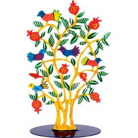 Metal Laser Cut Stand - Hand Painted - Yellow Tree