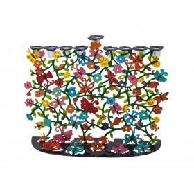 Hanukkah Menorah - Laser Cut-Hand Painted - Butterflies
