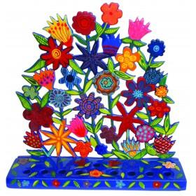 Hanukkah Menorah - Painted Laser Cut - Flowers