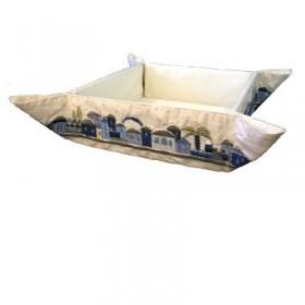 Folding Basket + Embroidery - Jerusalem Blue