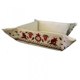 Folding Basket + Embroidery - Pomegranates