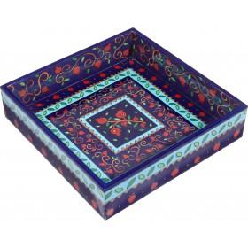 Printed Wooden Matzah Tray - Pomegranates