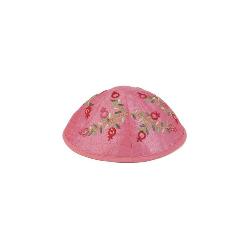 Kippah - Embroidered - Pomegranates -Pink