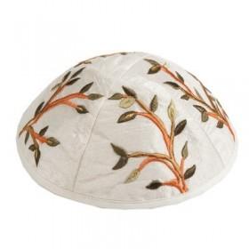 Kippah - Embroidered - Tree of Life - Brown