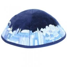Kippah - Velvet + Embroidered - Blue