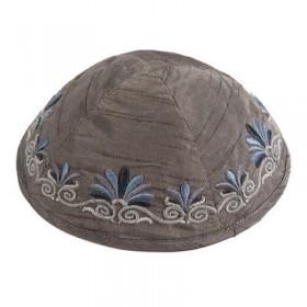 Kippah - Embroidered - Wave - Gray