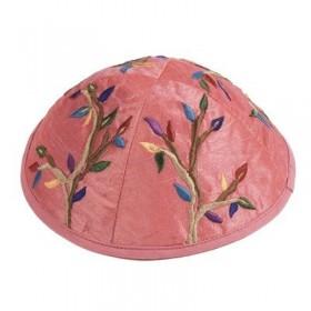 Kippah - Embroidered - Tree of Life - Pink