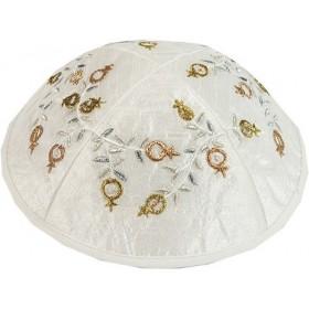 Kippah - Embroidered - Pomegranates - Gold