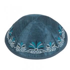 Kippah - Embroidered - Wave - Blue