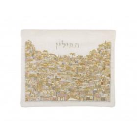 Tfilin Bag - Full Embroidery - Jerusalem - Silver + Gold