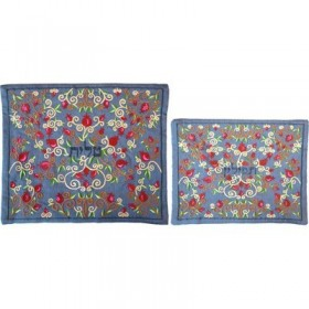 Tallit Bag - Machine Embroidery - Full Pomegranates -Blue