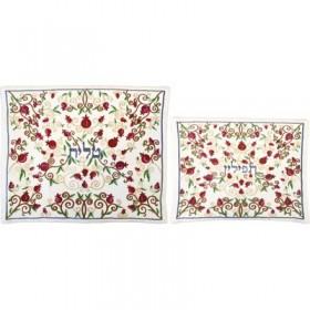 Tallit Bag - Machine Embroidery - Full Pomegranates - White