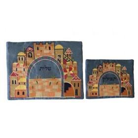 Tallit Bag - Machine Embroidery - Paper Cut Jerusalem - Blue