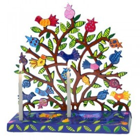 Hanukkah Menorah - Painted Laser Cut - Pomegranates + Birds