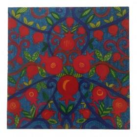Wooden Trivet - Pomegranates