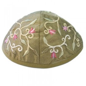 Kippah - Embroidered - Flowers - Gold