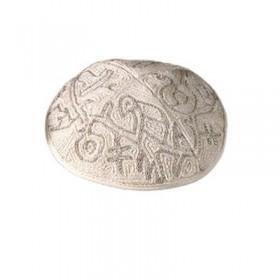 Kippah Hand Embroidered - Birds - Silver
