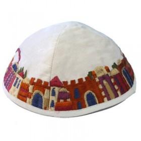 Kippah - Embroidered - Jerusalem - White