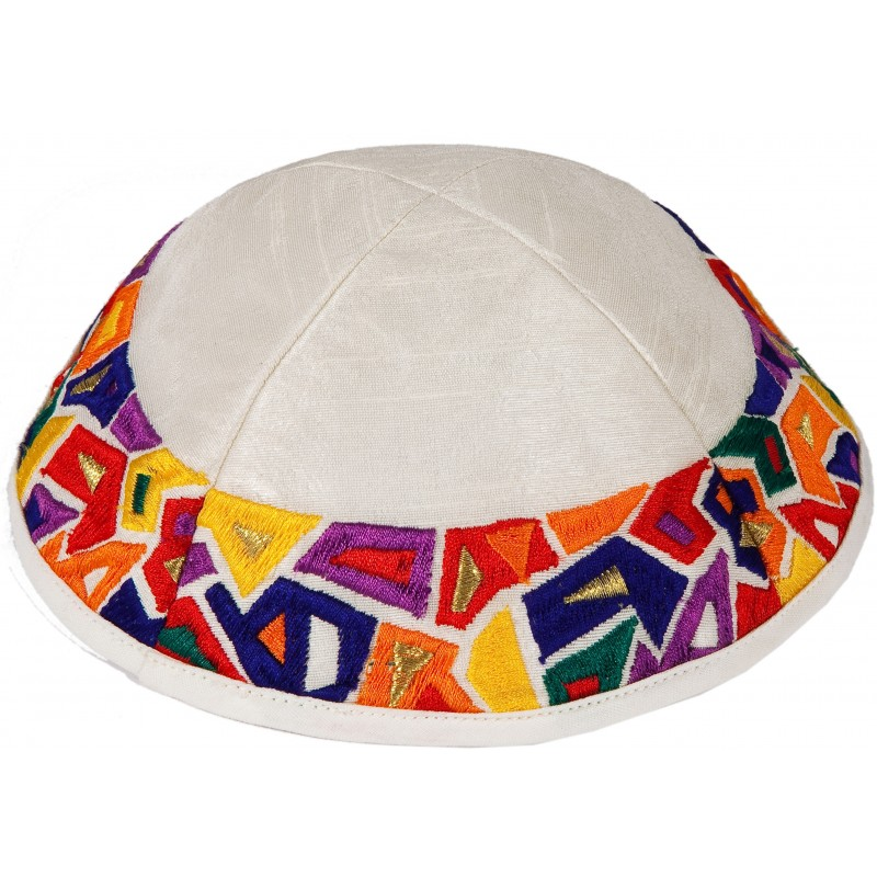 "Kippah - Embroidered - Geometry ""Joseph's Coat"" Multicolor"