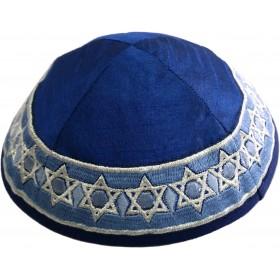 Kippah - Embroidered - Magen David - Blue