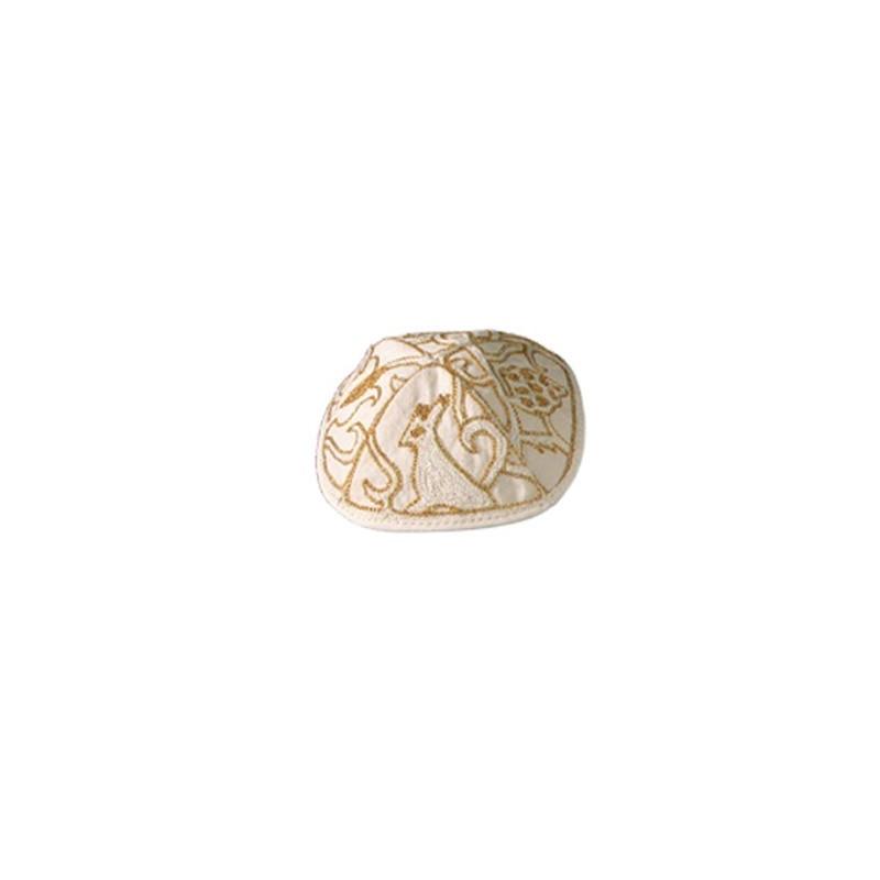 Kippah Hand Embroidered - Animals - Gold