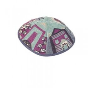 Kippah Hand Embroidered - Jerusalem - Blue