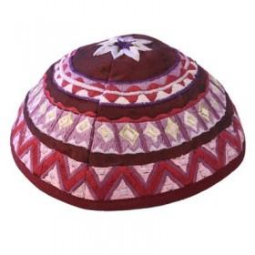 Kippah - Embroidered - Abstract - Maroon