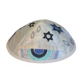 Kippah - Embroidered - Menorah - Blue