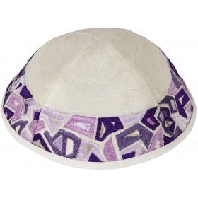 Kippah - Embroidered - Geometric - Purple
