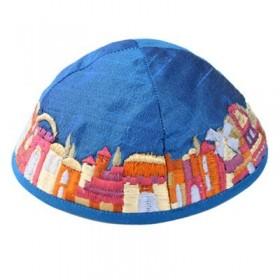 Kippah - Embroidered - Jerusalem - Blue
