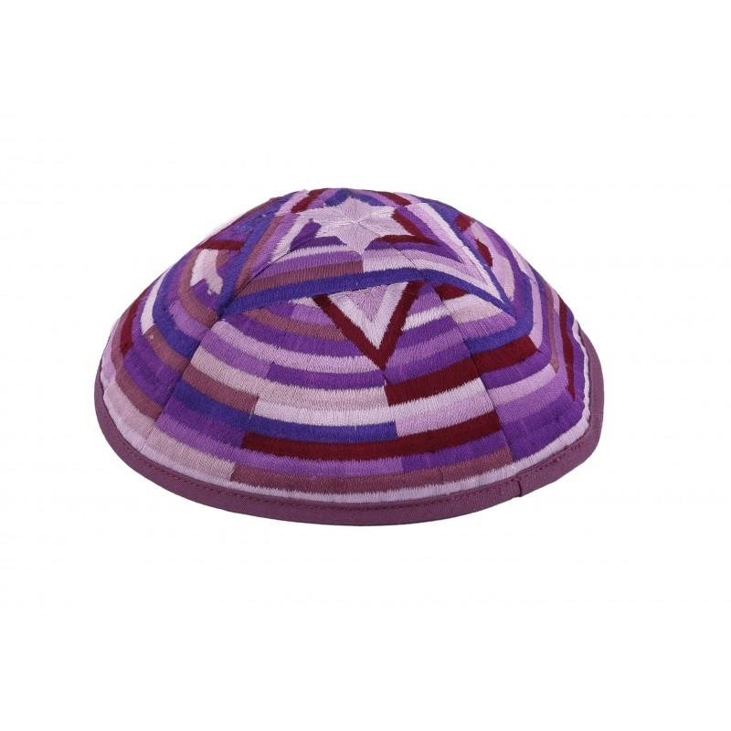 Kippah - Embroidered- Large Magen David --Purple