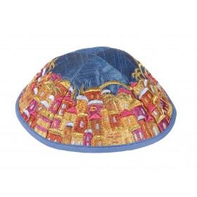 Kippah - Embroidered - Full Jerusalem - Multicolor