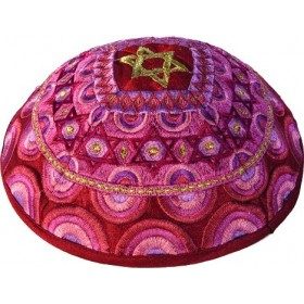Kippah - Embroidered - Magen David - Pink