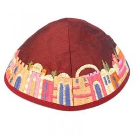 Kippah - Embroidered - Jerusalem - Maroon