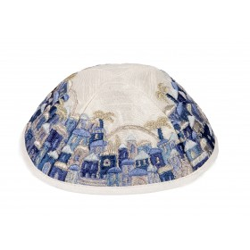 Kippah - Embroidered - Full Jerusalem- Blue